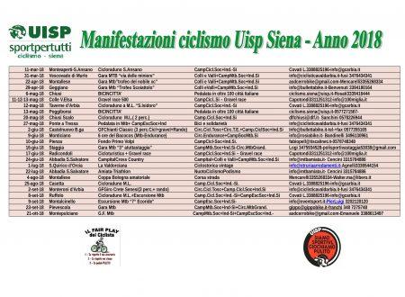 Calendario manifestazioni ciclistiche UISP Provincia di Siena 2018