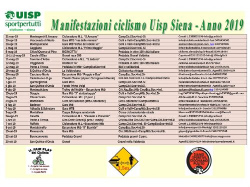 Calendario delle manifestazioni ciclistiche UISP di Siena 2019