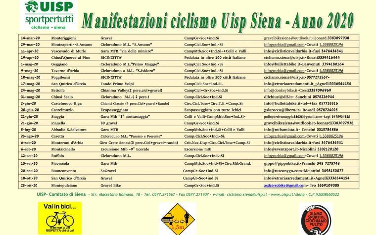 Calendario manifestazioni ciclistiche UISP di Siena 2020